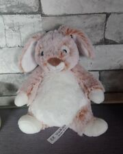 Peluche Doudou lapin blanc marron rouille chiné tout doux Nicotoy + cadeau