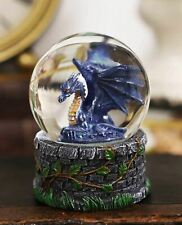 Small Fantasy Blue Midnight Dragon Sitting in Repose Glitter Water Globe
