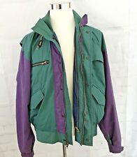 Vtg Woolrich Jacket Double zippers  hood purple and green Sz Large