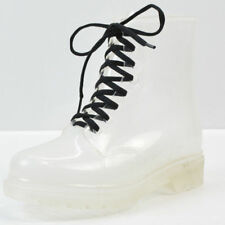 Womens Clear Rain Ankle Boots Jelly Martin Lace up Flat Rubber Wellies Rainshoes