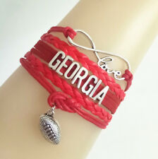 Infinity Love GEORGIA Football Sports LeatherEuropean Braided Custom Bracelet