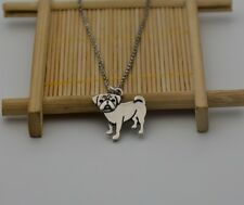 Small Pug Dog Canine Collection Silver Tone Fashion Pendant Necklace