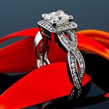 Halo Pave 1.35 Carat Princess Diamond VS2/D Engagement Ring White Gold Enhanced