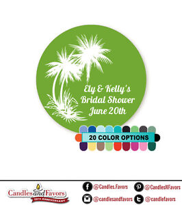 Palm Trees - Round Personalized Bridal Shower / Wedding Sticker Labels 20 colors