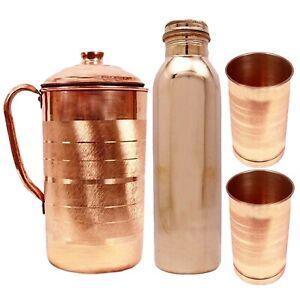 Pure Copper Water Bottle Handmade 900Ml, 1500Ml Jug & 2 Glass Tumbler Combo Pack