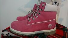 Timberland Pink Leather Boots Women Ladies 6 chukka wide n