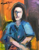 """JOSE TRUJILLO - Oil Painting ABSTRACT Expressionist 16X20"""" Canvas PORTRAIT Woman"""