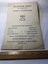 Vintage 1940's University of Pennsylvania Houston Hall Info plus Campus Map