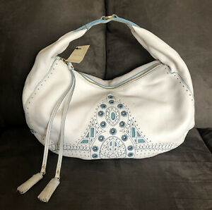 NWT New COLE HAAN Kayla Large Hobo Leather Handbag Purse White Teal Embroidered