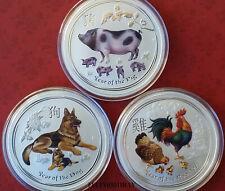 LUNAR Silber Münzen 2 OZ Schwein Hund Hahn color farbe