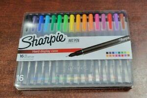 16 Sharpie Art Pen Hard Display Case Fine Pt Multicolor Assorted Color No Bleed