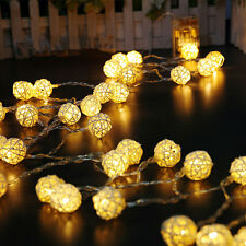 Rattan Ball Battery Operated Warm White LED Bedroom Fairy Party String Lights