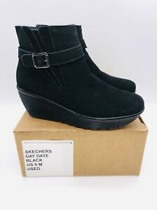 Skechers  Women's Day Date Suede Parallel Wedge Ankle Boots Black US 9M / EUR 39
