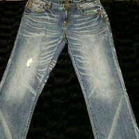 Miss Me Jeans Sz 27 Denim Capri Cropped Pant Distressed Medium Wash Stretch NICE