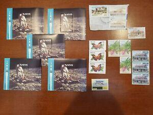 Nevis estate lot, 5 souvenir sheets, singles filling a desktop!
