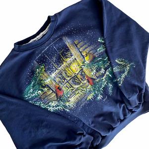 VINTAGE 90s Art Unlimited Sweatshirt Size Large Blue Cardiinals Crewneck USA