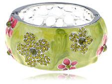 Alimarket Pearlescent Pink Peridot Crystal Rhinestone Stone Flower Bracelet Cuff