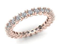 Ring 14k Rose Gold I Si2 0.75Ct Round Diamond U-Prong Eternity Anniversary Band