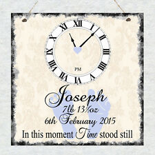 Beautiful Personalised New Baby Birth Christening Gift Shabby Plaque Sign Chic