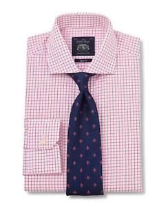 Savile Row Company White Pink Poplin Check Slim Fit Shirt - Single mitred Cuff