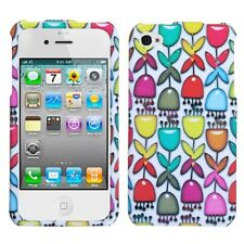 Colorful Flower Buds/White Phone Protector Cover Case for APPLE iPhone 4s/4