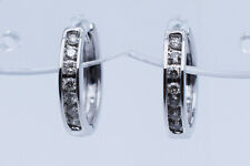 0.33 Ct Round Brilliant Diamonds Huggie Hoop Lady Earrings in 10K White Gold