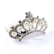 Bride Bridesmaid Wedding Crystal & Pearl Vintage Hair Comb Small Mini Tiara TH16