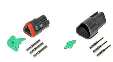 Deutsch DT 3 Pin Black Connector Kit 14 GA Solid Contacts