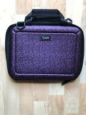 Icon Tablet/e-book Case Purple Black Cheetah Print Zipper Close Padded Handles