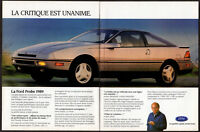 1989 FORD Probe Vintage Original 2 page Print AD Gray car photo Jacques Duval CA