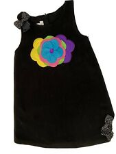 Bonnie Jean girls dress size 6 black embroidered stitched fleece cozy cute sweet