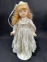 "9"" Porcelain Doll With Stand - White Lace Dress -Blue Eyes"