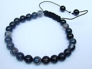 Men's BLACK Bracelet all 8mm Natural Lace AGATE gemstone beads