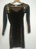 Veleno Dress Brown Velvet Gold Sequins Party Stretch Bodycon Short Size UK12
