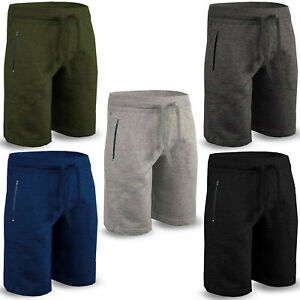 Mens Fleece Shorts Elasticated Jogger waist Zip Pockets Running Gym Fit Jogging