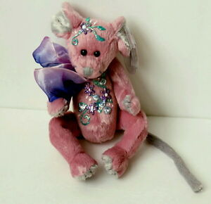 """Ty  8"""" Plush Ty Mouse Cromwell Handpainted w/ Glittered Flowers on Chest & Head"""