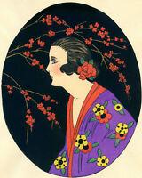 1930s French Pochoir Print Art Deco Asian Motifs Geisha Cherry Blossom Kimono