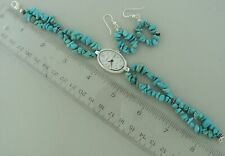 TURQUOISE WATCH, EARRINGS SET beaded nugget band solid silver 925 big clasp USA