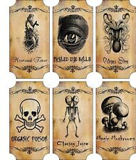 Vintage inspired Halloween sepia 6 large bottle label stickers apothecary labels