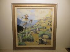 "24x22 original 1940 oil painting on canvas by Paul Gregg of ""The Evil Spoiler"""