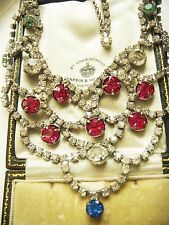 SALE VINTAGE RUBY SAPPHIRE PERIDOT DIAMOND ICE RHINESTONE BIB NECKLACE Wedding