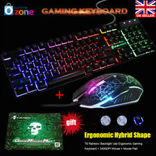 Led Rainbow Backlight Usb Ergonomic Gaming Keyboard + 2400DPI Mouse + Mouse Pad