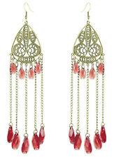C1176 hollow dragonfly chain water drop bead cute women dangle hook earrings new