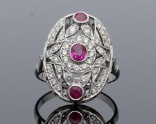 Vintage Diamond Cluster anillo de platino Ruby &