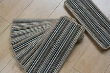 14 Stripey Open Plan Carpet Stair Treads Fancy Stripe Brown Pads! 14 Large Pads!