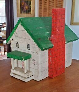 VINTAGE HAND MADE FOLK ART WOOD HOUSE with CHIMNEY