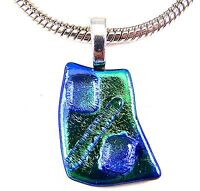 PENDANT Dichroic Fused Glass Blue Sapphire Teal Green Tie Dye Swirl Slide Charm
