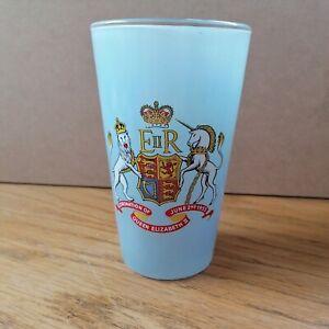 Powder Blue Glass Tumbler Queen Elizabeth II Coronation, 1953 12.5cm Tall