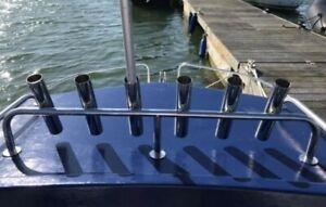 6-TUBE STAINLESS STEEL 316 BOAT FISHING ROD HOLDER  (40mm tube)