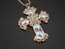 Golden chain Fashion jewelry inlaid crystal cross pendant necklace #B